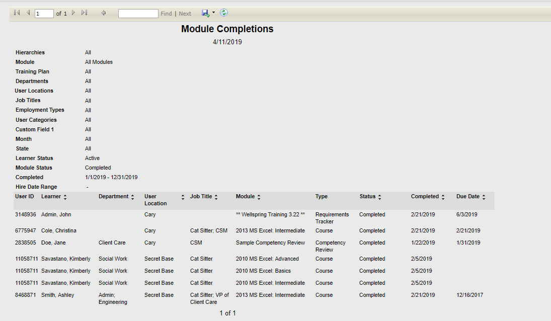 Module Completions